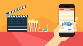 Insegna online di prenotazione del biglietto del cinema di applicazione dello Smart Phone delle cellule della tenuta della mano royalty illustrazione gratis