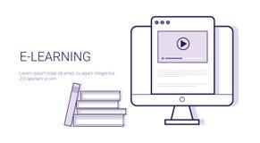 Insegna online di web del modello di istruzione di Elearning di concetto di affari di Learing con lo spazio della copia illustrazione vettoriale