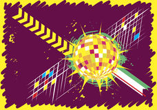 Insegna orizzontale astratta del club di ballo con la palla della discoteca Fotografia Stock