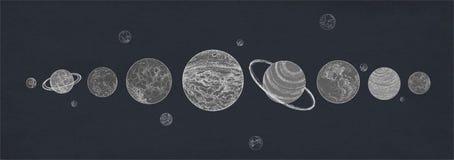 Insegna orizzontale con i pianeti del sistema solare sistemati royalty illustrazione gratis