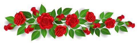 Insegna orizzontale con la ghirlanda della rosa rossa illustrazione di stock