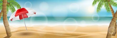 Insegna orizzontale della spiaggia con le palme ed il parasole royalty illustrazione gratis