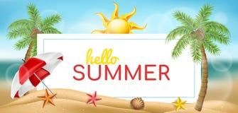 Insegna orizzontale di estate con il parasole, la palma ed il sole illustrazione di stock
