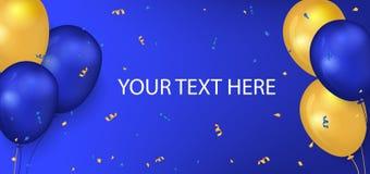 Insegna orizzontale di festa con i baloons lucidi 3d su fondo blu colore giallo e blu immagine stock