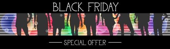 Insegna orizzontale di offerta speciale di Black Friday con il gruppo di persone le siluette su fondo variopinto Immagine Stock