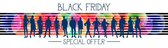 Insegna orizzontale di offerta speciale di Black Friday con il gruppo di persone le siluette su fondo variopinto Fotografia Stock Libera da Diritti