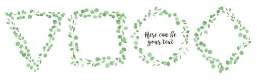 Insegna orizzontale di progettazione di vettore dell'eucalyptus di nozze Verde rustico royalty illustrazione gratis