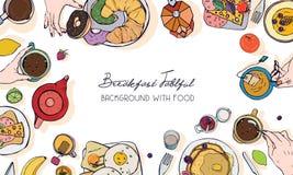 Insegna orizzontale di pubblicità sul tema della prima colazione Contesto con la bevanda, i pancake, i panini, le uova, i croissa illustrazione di stock