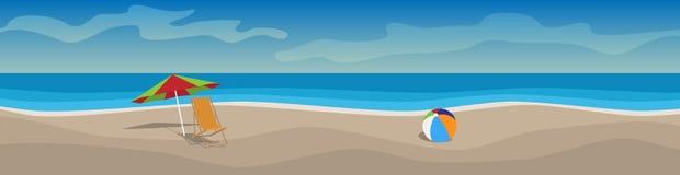 Insegna orizzontale di vettore con la spiaggia, letti del sole, ombrelli, mare illustrazione vettoriale
