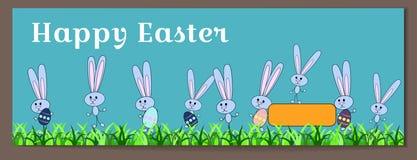 Insegna orizzontale di vettore per Pasqua felice con le uova ed i coniglietti dipinti I conigli tengono le uova con un modello fl illustrazione di stock