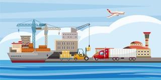 Insegna orizzontale logistica, stile del fumetto illustrazione vettoriale