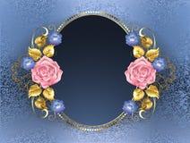 Insegna ovale con le rose rosa illustrazione di stock