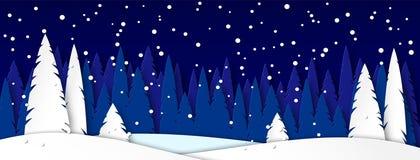 Insegna per i cappucci delle reti sociali Paesaggio di inverno con la casa su una notte illuminata dalla luna Alberi di Snowy in  illustrazione vettoriale