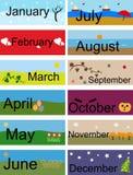 Insegna per i mesi dell'anno illustrazione vettoriale