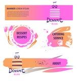 Insegna per il blog del dessert con la ricetta, servizio d'approvvigionamento mascherina illustrazione vettoriale