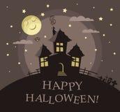 Insegna per il partito di Halloween con la casa frequentata Fotografie Stock