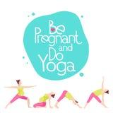 Insegna per la pubblicità dell'yoga incinta Fotografie Stock