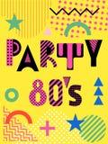 Insegna per un partito nello stile degli anni '80 Geometri d'avanguardia Immagini Stock Libere da Diritti
