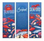 Insegna, pesce e crostacei dei frutti di mare illustrazione di stock