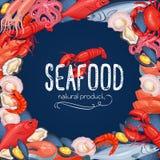 Insegna, pesce e crostacei dei frutti di mare illustrazione vettoriale