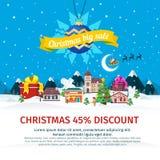 Insegna piana di grande vendita di Natale Vector l'illustrazione per il sito Web, gli annunci, insegne illustrazione di stock