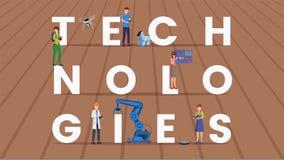 Insegna piana di vettore di concetto di parola di tecnologie royalty illustrazione gratis