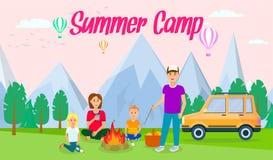Insegna piana orizzontale del campeggio estivo con iscrizione royalty illustrazione gratis