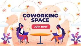 Insegna piana orizzontale scritta lo spazio di Coworking royalty illustrazione gratis