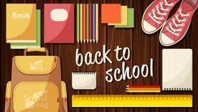 Insegna piana sulla scuola, utensili, libri di web di vettore Di nuovo a Zaino dei taccuini Gli oggetti hanno disposto il di legn Fotografie Stock Libere da Diritti