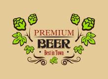 Insegna premio o emblema della birra Fotografie Stock Libere da Diritti