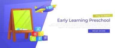 Insegna prescolare d'apprendimento in anticipo Giochi per imparare Pubblicità dell'asilo con il consiglio scolastico ed i giocatt illustrazione vettoriale