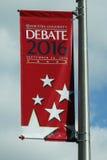 Insegna presidenziale 2016 di dibattito all'università di Hofstra in Hempstead, New York Immagini Stock Libere da Diritti