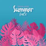 Insegna quadrata della vendita di estate di offerta speciale con la palma rosa, monstera, foglie della banana su fondo blu con l' illustrazione di stock