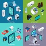 Insegna quadrata delle icone isometriche di Iot 4 Fotografia Stock