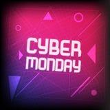 Insegna quadrata per lunedì cyber Modello luminoso con luce per i media sociali, web, offerta di affari, aletta di filatoio Fotografia Stock