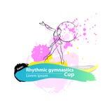 Insegna relativa alla ginnastica ritmica artistica di schizzo del cerchio di vettore Immagine Stock