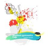 Insegna relativa alla ginnastica ritmica artistica di schizzo del nastro di vettore Fotografia Stock