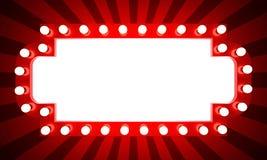 Insegna retro d'ardore del cinema con i raggi Fotografia Stock Libera da Diritti
