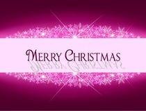 Insegna rosa porpora di Natale con i fiocchi di neve ed il testo Fotografia Stock Libera da Diritti