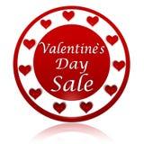 Insegna rossa del cerchio di vendita di giorno di biglietti di S. Valentino con i simboli dei cuori Fotografie Stock