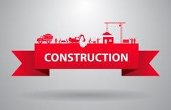 Insegna rossa della costruzione illustrazione di stock