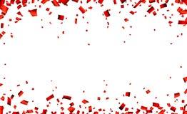Insegna rossa di celebrazione dei coriandoli illustrazione di stock