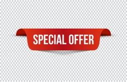 Insegna rossa di offerta speciale con ombra su fondo trasparente Può essere usato con tutto il fondo Illustrazione di vettore illustrazione vettoriale