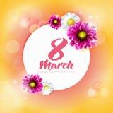 Insegna rotonda con il logo per il giorno internazionale del ` s delle donne illustrazione di stock