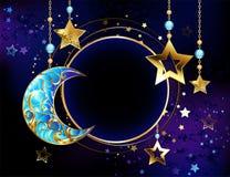 Insegna rotonda con la luna della mezzaluna dei gioielli illustrazione vettoriale