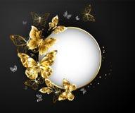 Insegna rotonda con le farfalle dell'oro Immagine Stock Libera da Diritti