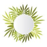 Insegna rotonda con le foglie Fotografie Stock