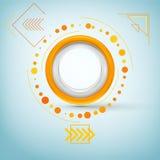 Insegna rotonda con le frecce Bottone di plastica, distintivo, struttura Immagini Stock Libere da Diritti