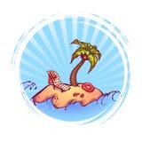 Insegna rotonda con le palme, l'onda dell'oceano ed acqua royalty illustrazione gratis