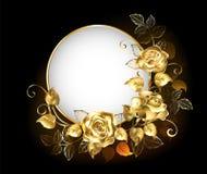 Insegna rotonda con le rose dell'oro Fotografia Stock
